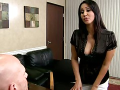 Big tits office bitch slut boss Isis gets tits licked