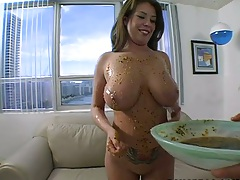 Big tits solo covered in food Emily George hitting the shower