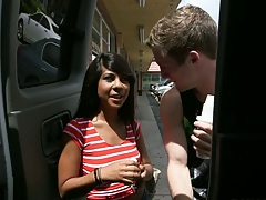 Public cute teen pick up with Kara Hartley fully clothed jumping in