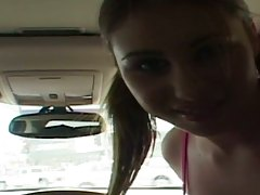Whitney Stevens going for a ride in a car