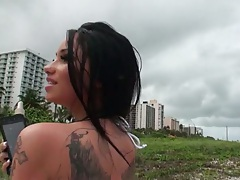 Outdoor with gf Raven Bay showing her bikini with blowjob and long eyelashes