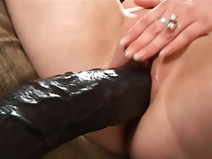 Giant dildo masturbation for hairless pussy hole slut and a close up view