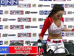 Big tits in sports with Katsuni giving an interview