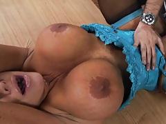 Big tits slutty whore doing a bit of titty fucking