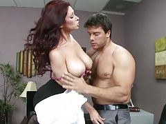 Big tits milf Tiffany Mynx in the office with her tits out sucking deep throat