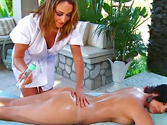 Rough oil lesbian massage with Jelena Jensen and Ryan Keely outdoors