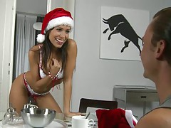 Christmas helper stripping her down