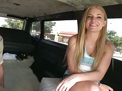 Hot teen sitting in bangbus