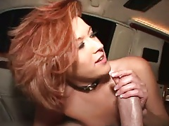 Backseat handjob with redhead Trisha Rey