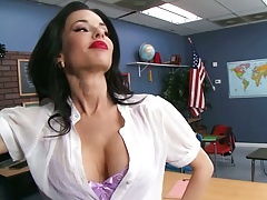Sexy big tits milf Veronica Avluv in class using students cock