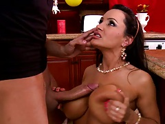 Big tits Lisa Ann blowjob with ass fingering