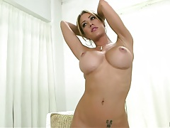 Naked Capri Cavalli posing and laying down to get ass massaged