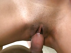 Shaved black pussy close up penetration