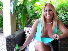Hot latina milf with no bra show upskirt pussy and pulled aside panties