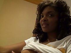 Ebony amateur shows fairly firm and large natural tits then masturbates in hotel room