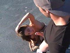 Allie Jordan sucks off dude in parking lot
