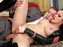 Half dressed in suit with euro Anastasia Brill sex on the carpet
