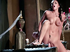 Spicy Amber Cox sitting on cock with her skinny body in a huge vip bath tub