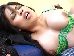 Nice bra holding big tits on Sasha Hollander up while cock enters her anus